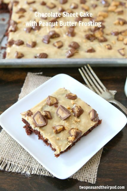 Chocolate Sheet Cake with Peanut Butter Frosting | Two Peas and Their Pod: Peanuts, Frostings, Sheetcakes, Chocolates, Frosting Recipes, Peanut Butter Frosting, Peanut Butter, Chocolate Sheet Cakes, Dessert