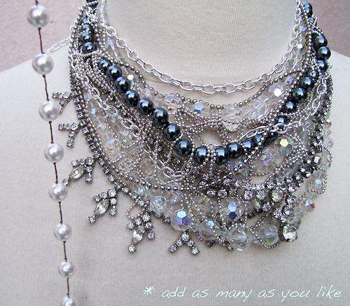 DIY-Tom-Binns-rhinestone-chains-pearl-chunky-choker-collar-necklace-9 by ...love Maegan, via Flickr