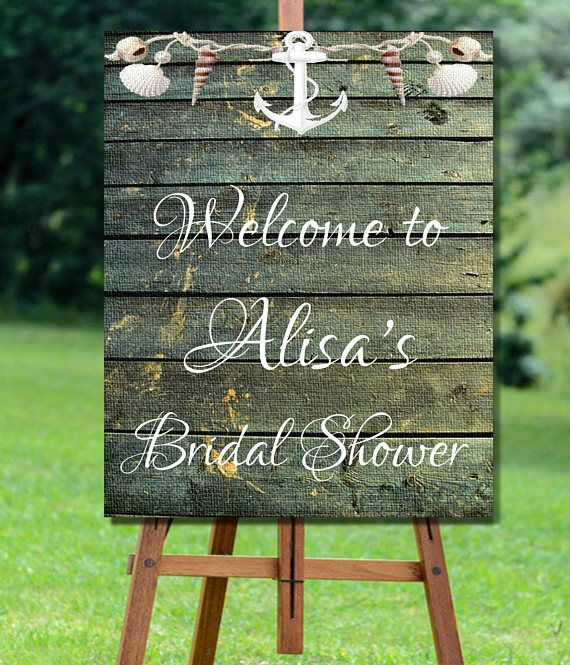 Bridal Shower Welcome Sign Printable, Rustic Bridal Shower Sign, Nautical Bridal Shower Welcome, Barn Wood Bridal Shower Welcome Sign