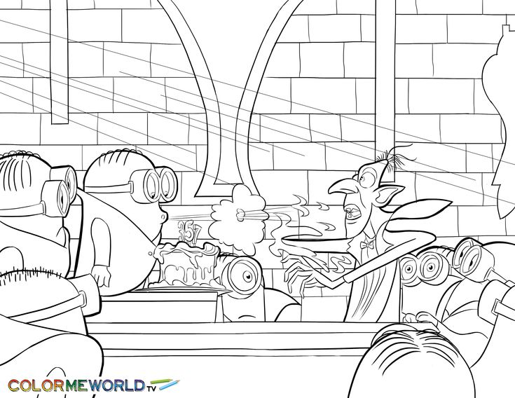 Minions With Dracula PDF Printable Coloring Page