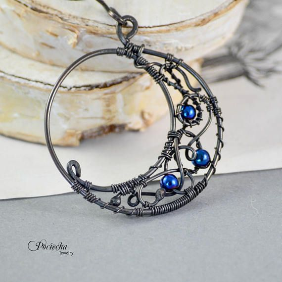 Magic moon blue hematite pendant necklace  Jewelry bohemian