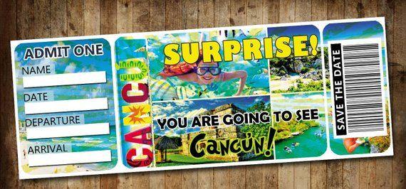 Cancun Mexico Customizable Boarding Pass A Trip Surprise -3130