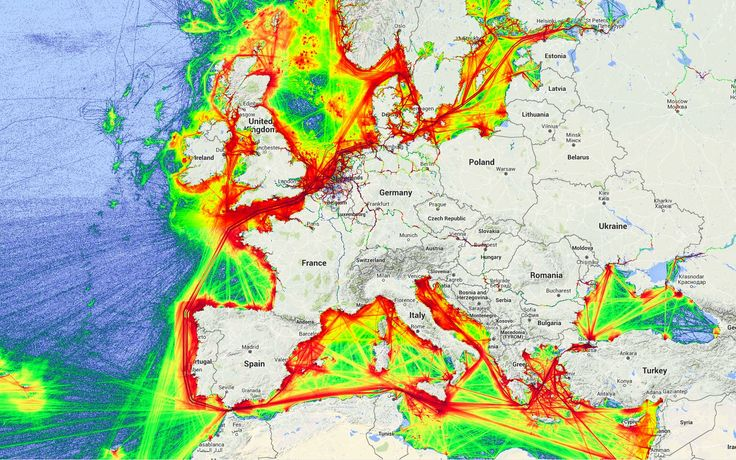 European shipping lanes. Look at the Netherlands! Gateway to Europe.