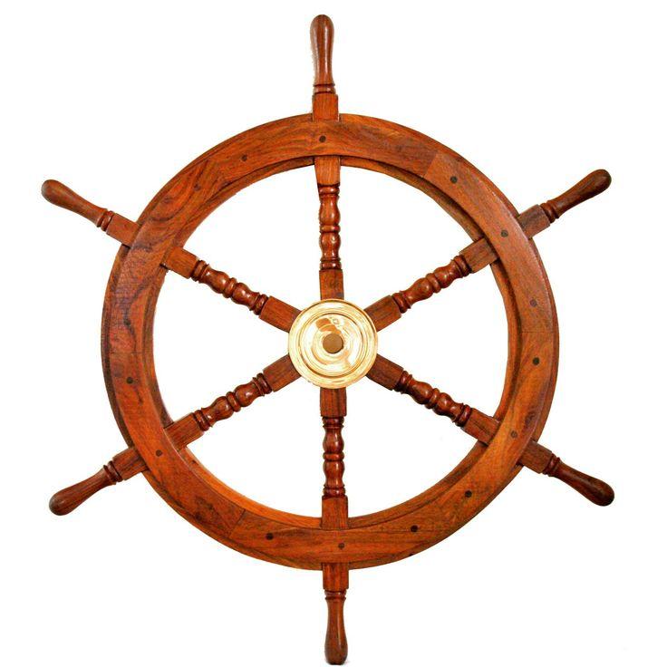 Drewniane koło sterowe z mosiężną piastą - prestiżowy morski symbol przywództwa, stylowy żeglarski prezent, alegoria trzymania steru władzy, dowodzenia, marynistyczny synonim kapitańskiej wiedzy i odpowiedzialności, właściwych decyzji i obierania dobrych kursów, dobrego dowództwa i bezpiecznego powrotu do portu, ponadczasowy prezent dla Żeglarza i osób zakochanych w morzu, żaglach, żaglowcach, element morskiego wystroju wnętrz, morski styl…