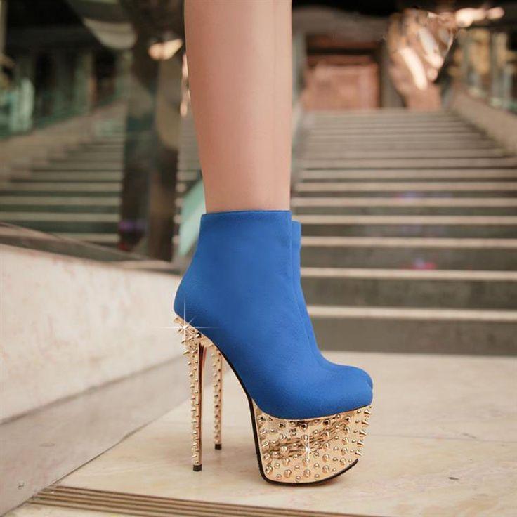 Dresswe.comサプライ品リベットで青いセクシースカイハイスティレットヒールプラットフォームアンクルブーツ ショートブーツ