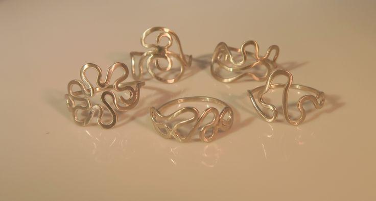 Silver Random Squiggle Rings