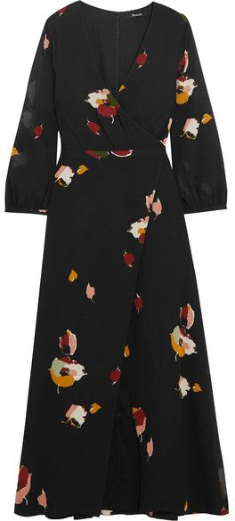 Madewell - Jane Wrap-effect Floral-print Georgette Maxi Dress - Black