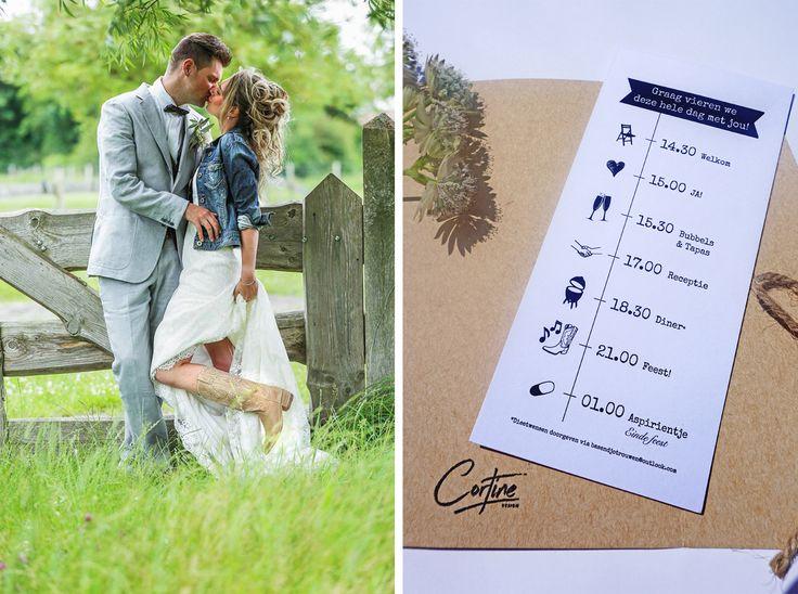 Trouwkaart Bas & Djolien | Ontwerp door Cortine Design | www.cortinedesign.nl | #cortinedesign #trouwkaart #savethedate #wedding #save #the #date #trouwen #kraft #kaart #weddingcard #weddingannouncement #tijdlijn #timeline #rusticwedding