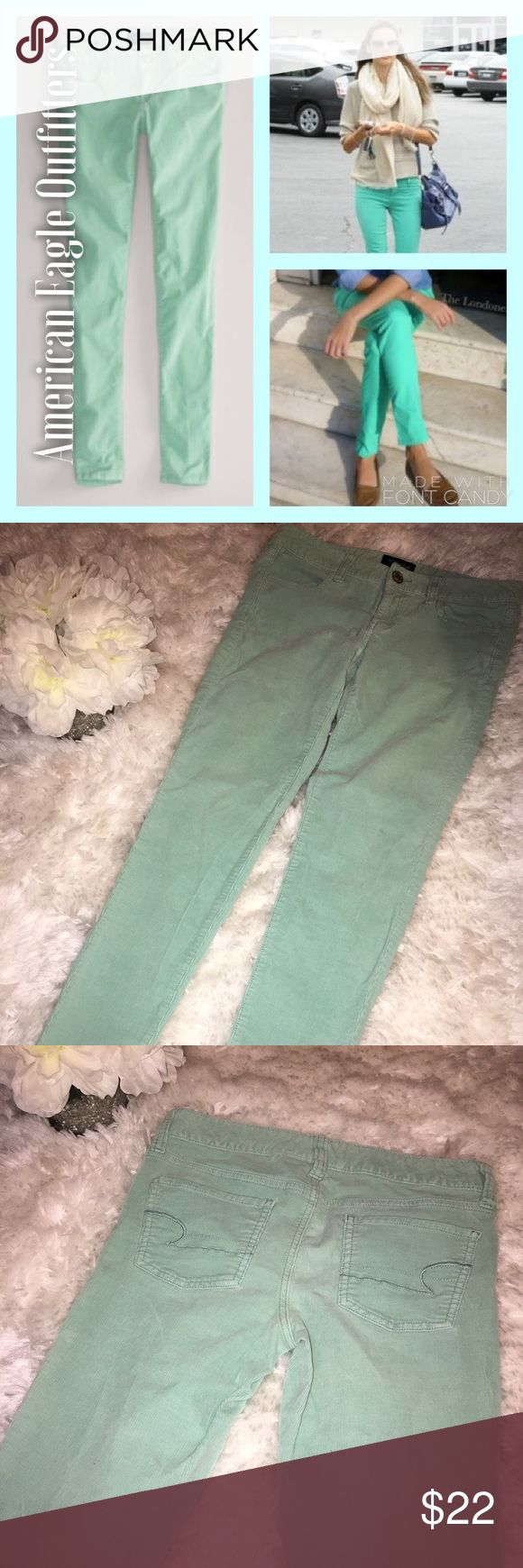American Eagle 🦅 Outfitters Mint Green Cord Jeans American Eagle 🦅 Outfitters Mint Green Cord Jeans. Inseam 30. Perfect condition. No tears, rips, or stains. Can be dressed up or down. American Eagle Outfitters Pants