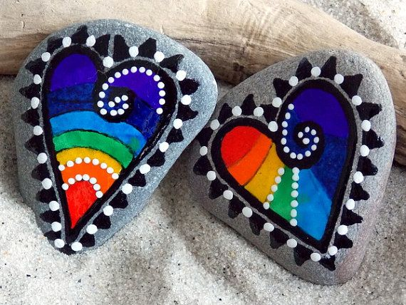 Rainbow Connection Magnets / Painted Rocks / by LoveFromCapeCod, $44.00