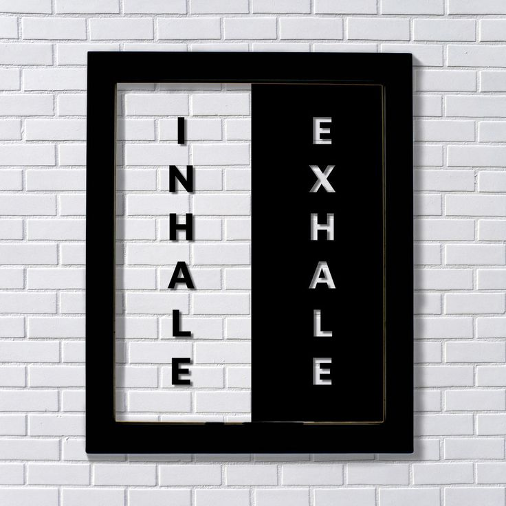 Inhale Exhale - Floating Quote - Yoga Wall Art - Pilates Relaxation Breathe - Motivation Inspiration Gift - Modern Minimalist - Workout Room