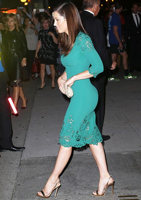 Jessica in Dolce & Gabbana. Jessica Biel Looks Hot in Fitted Dress Out With Justin Timberlake - Us Weekly