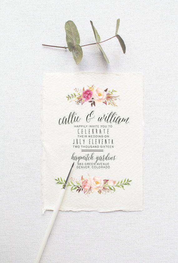 Watercolor Boho Wedding Invitation Suite DEPOSIT - DIY, Rustic, Chic, Country, Calligraphy, Invite Kit, Printable (Wedding Design #51)