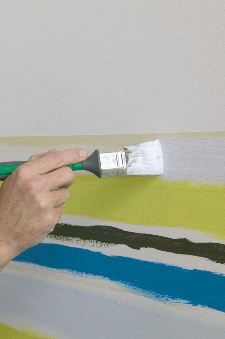 Wand Streichen Muster Selber Machen Streifen Drei Farben Wall