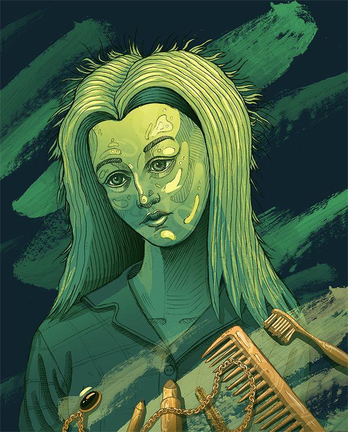 """She's late"" illustration | women | portrait | cosmetics"