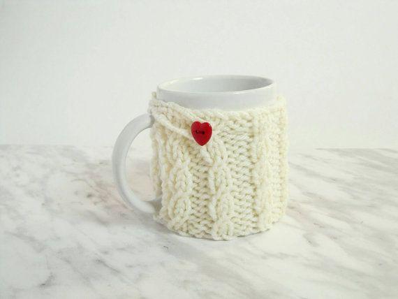 Mug Cozy with Heart Button  Knit Coffee Mug Cozy  by 3LittlePurls