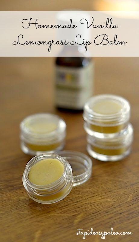 Homemade Vanilla Lemongrass Lip Balm   stupideasypaleo.com #naturalskin #DIY #homemade