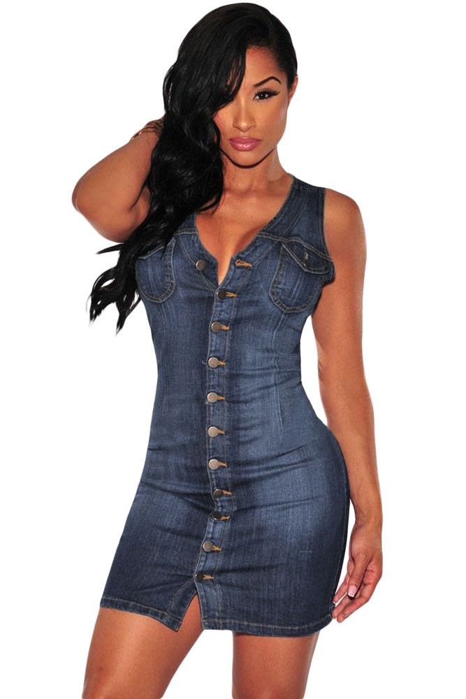 Denim Dress With Pockets Blue Short Bodycon Dress Sleeveless Mini Casual Tight Denim Sundress Clothes