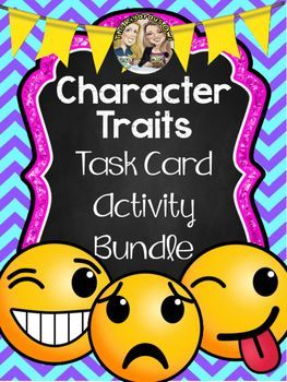 Want an engaging activity that provides practice at identifying Character Traits? This Task Card Activity pack has it all! Your students will MASTER identifying Character Traits while having fun!!! What's Included?24 Task Cards in all2 Types of Fun Emoji Recording Sheet Super Colorful and Engaging Theme2 Open Ended Extension Activities that are perfect for enrichment, intervention, or early finishersAnswer KeysNeed More Resources to Teach Character Traits?