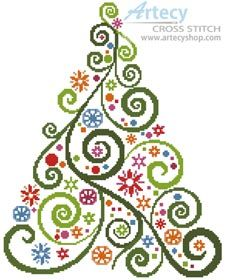 Abstract Christmas Tree - Cross Stitch Chart - Click Image to Close