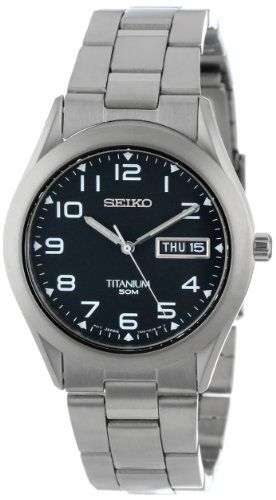 Seiko Men's SGG711 Black Dial Titanium Watch $95.61 Buy it at: http://premierjewelry.biz/product/seiko-mens-sgg711-black-dial-titanium-watch