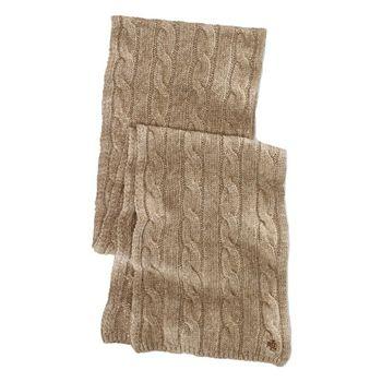 Ralph Lauren Women's Camel Tan Cable Knit Scarf