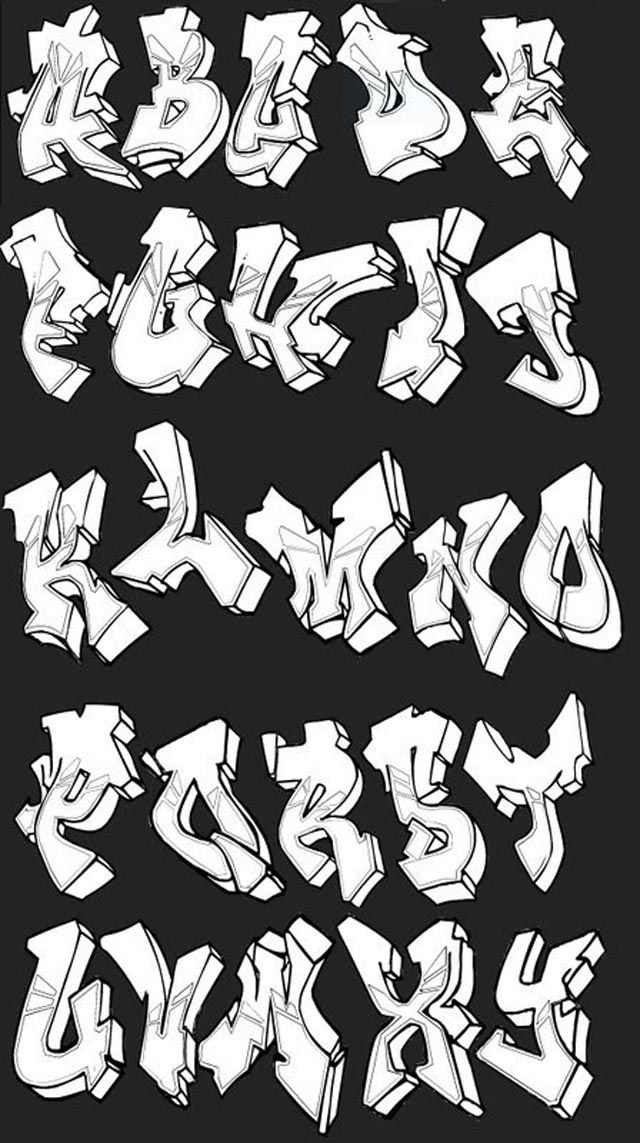 Graffiti Alphabets turned into graffiti art: many styles, colours, themes and calligraphy examples in this inspirational graffiti alphabet selection.