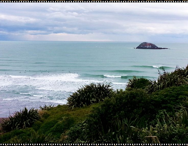 Maori Bay Surfers taken from near the Gannet colony. 2014 Photographer: Hayden Brown
