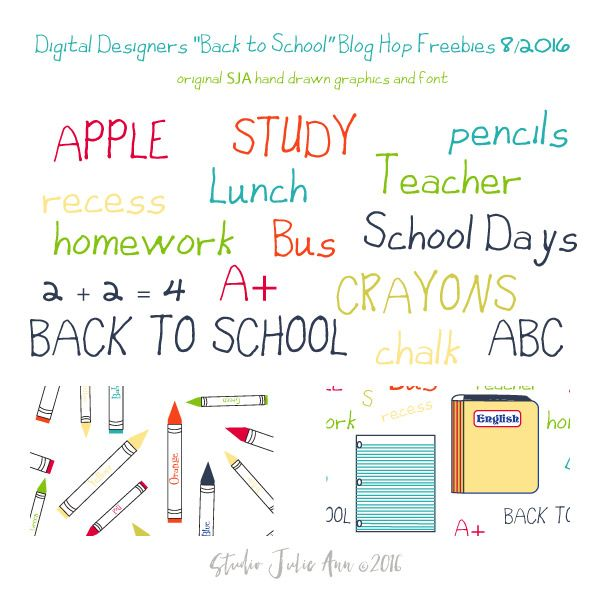 """My Freebie contribution to the Digital Designers August 2016 Blog Hop! My very first hand drawn font! I've used the new """"Back to School"""" font to…"""