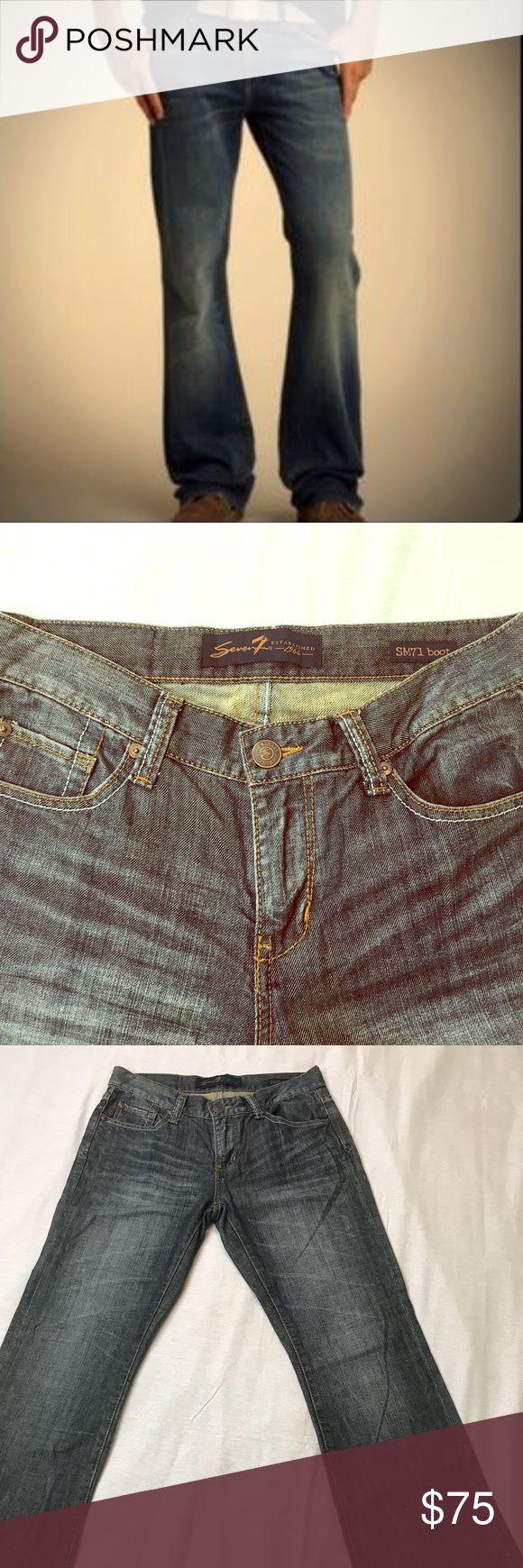 """SM71 Boot Mens Seven Jeans size 30 Men's boot SM 71 Seven Est 1964 Jeans  Inseam 29.5"""" Zip/Front 9"""" Waist/hip 15"""" Outseam 39"""" Seven Jeans Bootcut"""