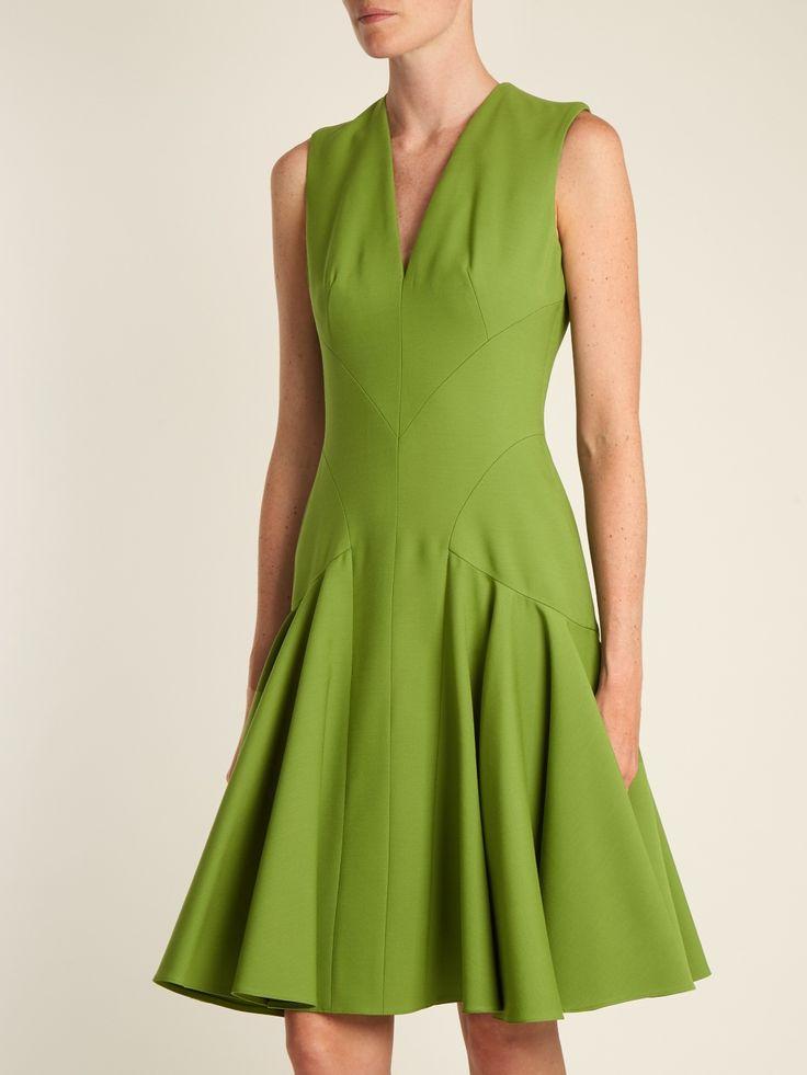 V-neck wool-blend sleeveless dress | Alexander McQueen | MATCHESFASHION.COM