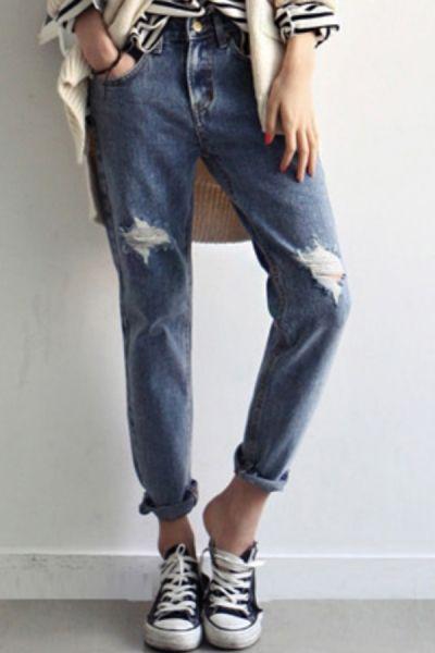 Boyfriend Destroyed Harem Jeans OASAP.com