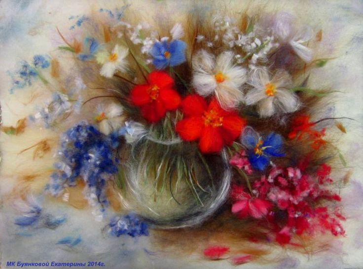 Мастер-класс по картинам из шерсти - Лев, Букет цветов, Овечка - Ярмарка Мастеров - ручная работа, handmade