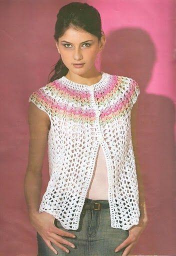 Crochetemoda: Crochet - Bolero Com Pala Colorida