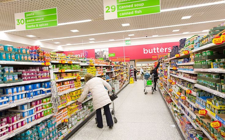 People living in England can get their food from grocery stores.
