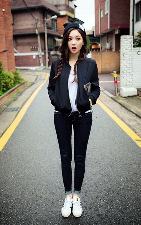 45 Cute Skinny Black Jeans Outfit Worth Trying  Bomber -4821
