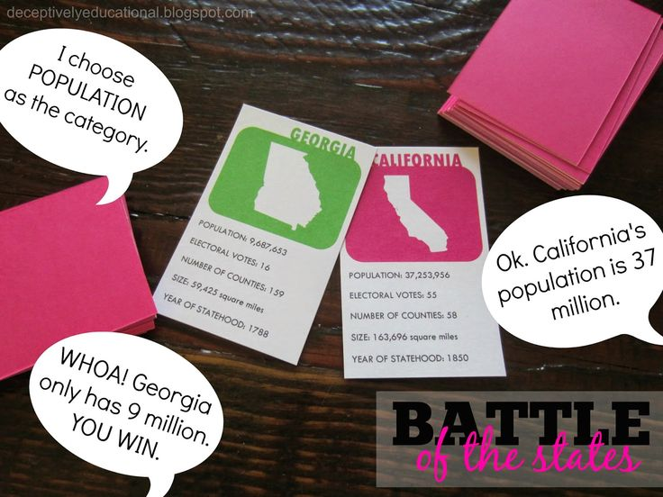 Relentlessly Fun, Deceptively Educational: Battle of the States {free printable game}