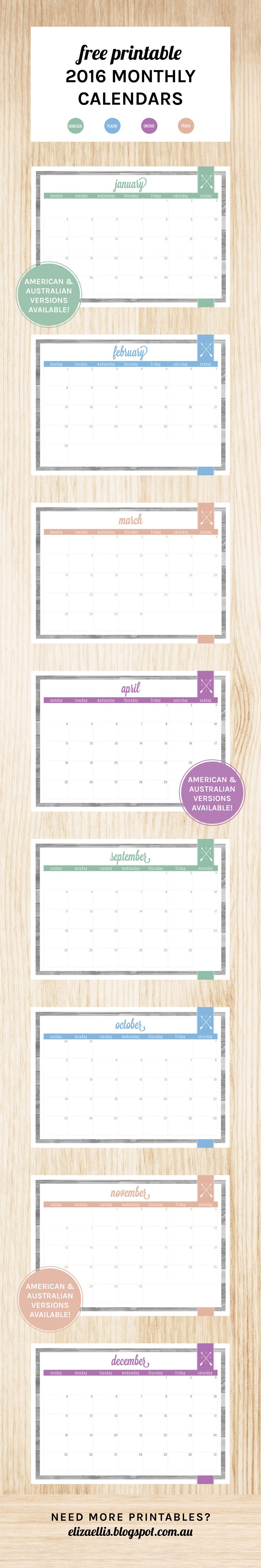 Free Printable 2016 Monthly Calendars by Eliza Ellis. Available in both Australian/UK and American versions, as well as in 4 colors. Check out my blog for loads more planners, diaries, calendars and organizers!