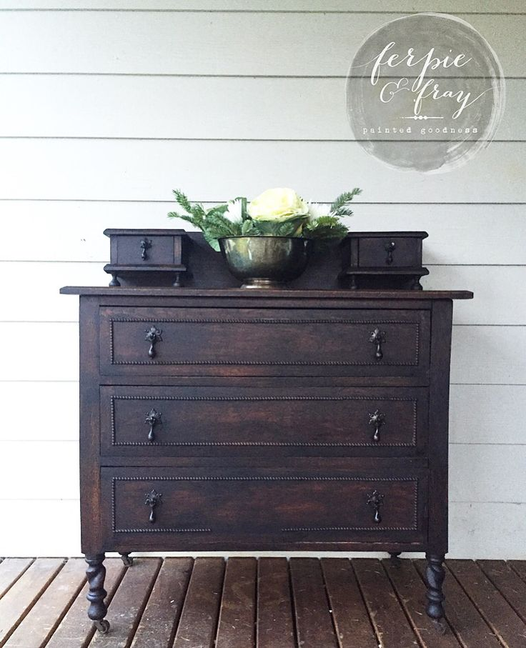 Dresser painted in General Finishes Lamp Black wash by Amanda of Ferpie and Fray.