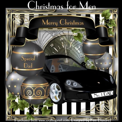 Christmas for Men by Kim Blundred This kit contains 4 sheets for use with an 8x8 card blank. The sheets included are card front insert decoupage panels and a selection of sentiment options to suit a variety of male recipients ... Not just Dad.The design is a sleek sports car with a personalised number plate (options included - please see the text detail). The car is surrounded by large masculine t