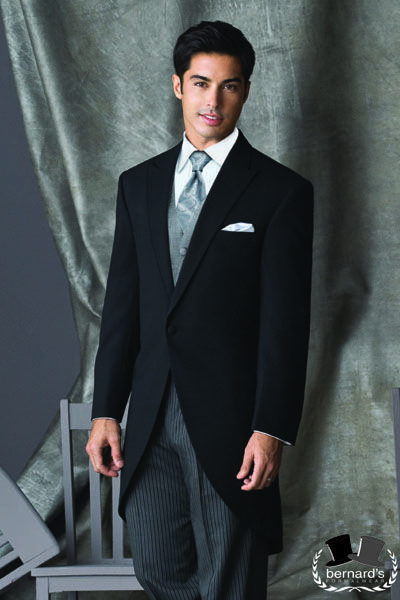 Black Cutaway the ultimate daytime formal attire! Shown with coordinating striped trousers, grey vest and paisley tie! #bernardstux