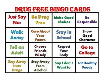 This Bingo is a great for children to get the message to live drug free. Use during Red Ribbon Week to reinforce positive messages for living drug free. This Bingo contains 25 bingo cards and a set of calling cards.