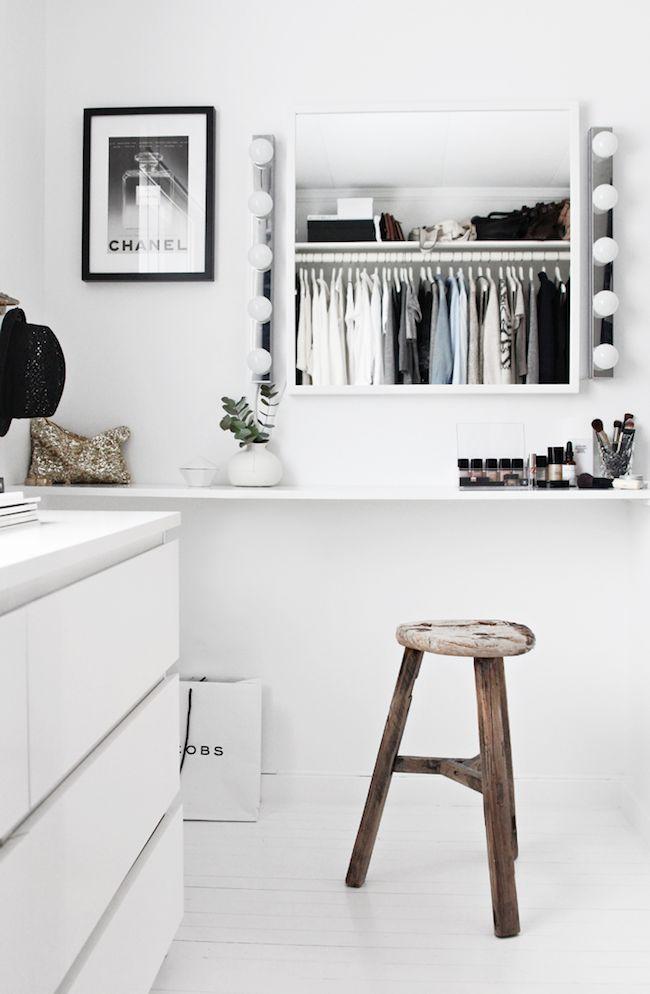 A Fashionable Home: Minimal And Bright Walk-In Closet -- Scandinavian Minimal Interior Design -- Vanity Via Stylizimo