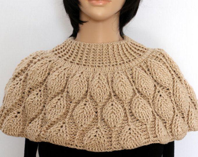 Bufanda beige Capelet hombro cálido chal Crochet cuello calentador Crochet capucha de mujer para mujer Poncho de punto