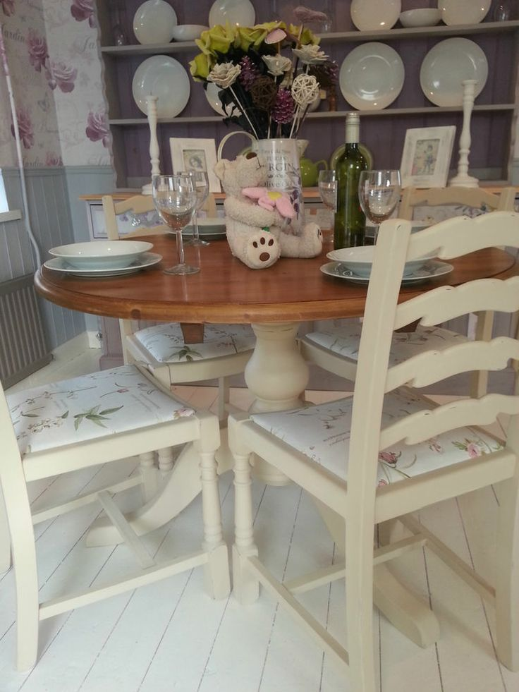 Beautiful Shabby Chic Solid Pine Table with 4 Padded Ladder Backed Chairs   Painted with Annie117 best Chic Boutique furniture images on Pinterest   Leicester  . Old Dining Chairs Leicester. Home Design Ideas