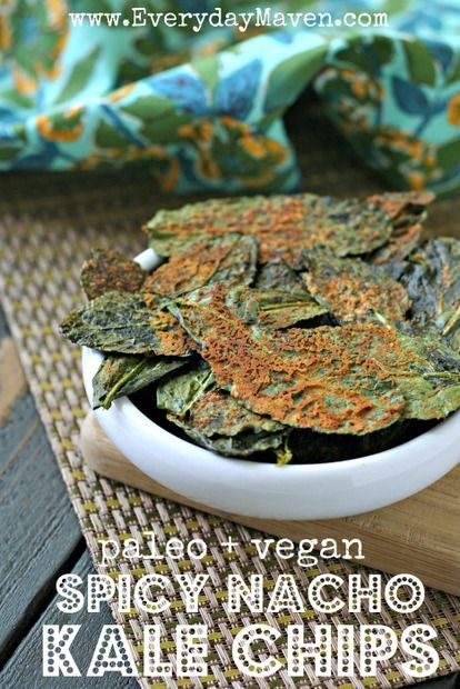 Spicy {Vegan + Paleo} Nacho Kale Chips. These chips are perfect for a healthier weekend night treat while watching a movie and relaxing with your family.