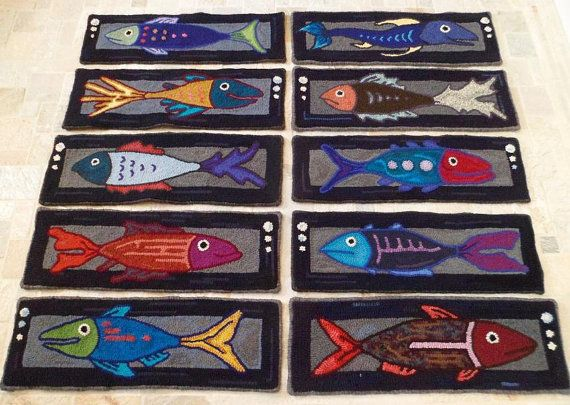 Finest Fishes  Set of 12 hooked stair treads  Made by theoldloft, $1450.00