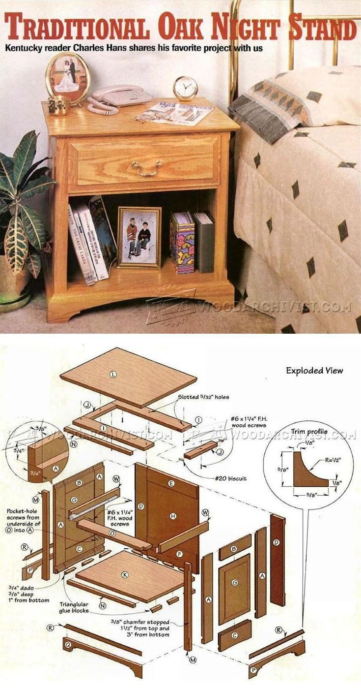 Traditional Oak Night Stand Plans - Furniture Plans and Projects   WoodArchivist.com