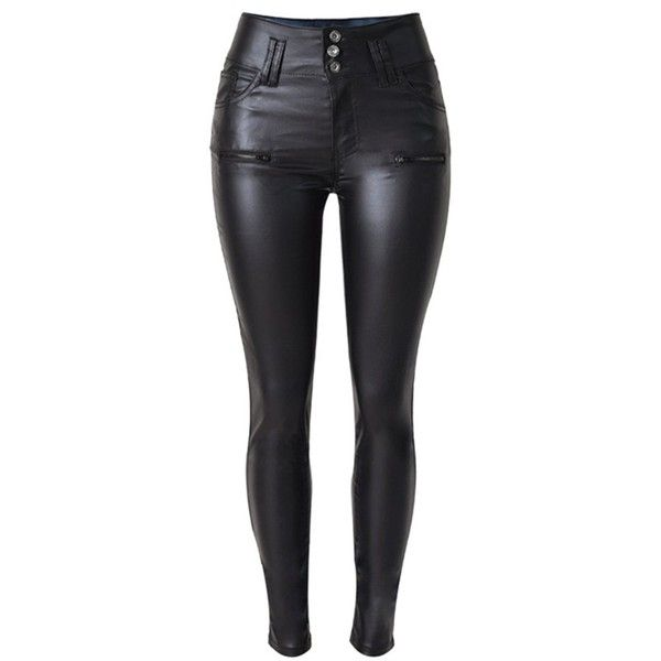 Crazy Women's High Waist Skinny Fit Faux Leather Biker Pants Slim... (86 BRL) ❤ liked on Polyvore featuring pants, jeans, trousers, leather pants, high-waisted trousers, high-waisted pants, slim fitted pants, high waisted skinny trousers and bike pants