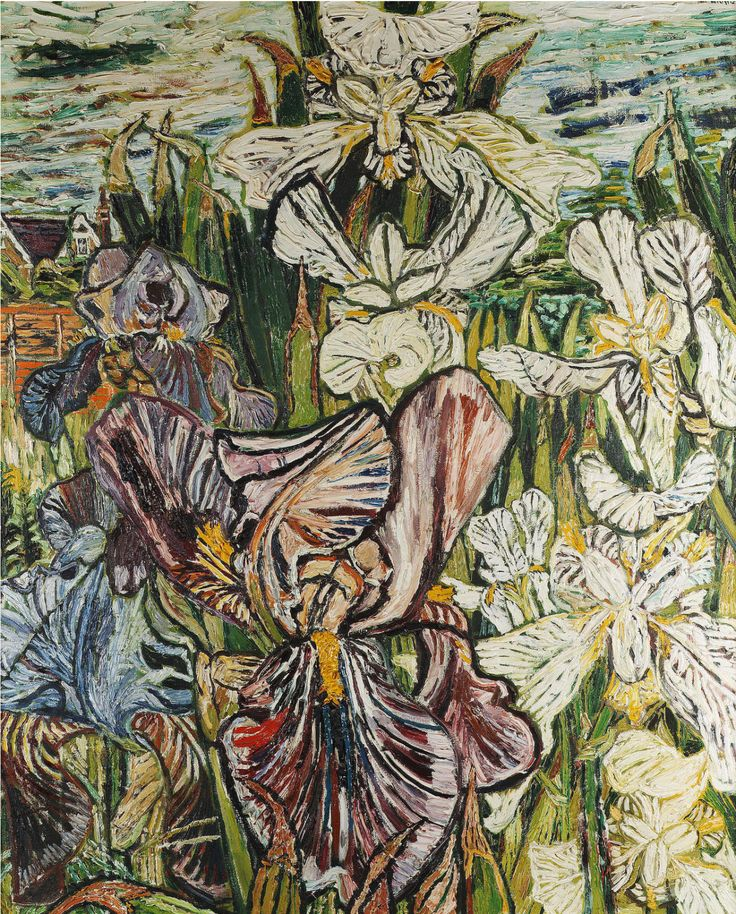John Bratby (British, 1928-1992), White and Mauve Butterfly Irises, 1966. Oil on canvas, 111 x 91 cm.